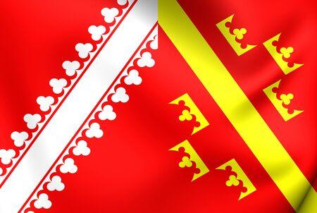former: 3D Flag of Alsace (old), France. Close Up.