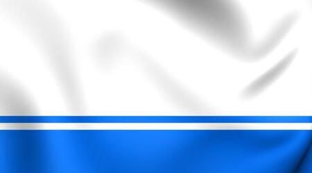 altai: 3D Flag of Altai Republic, Russia. Close Up.