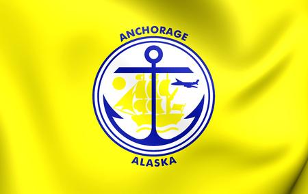 anchorage: 3D Flag of Anchorage City, Alaska. Close Up.