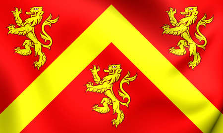 3D Flag of Anglesey, Wales. Close Up.