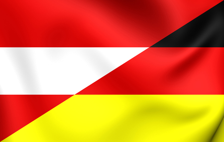 austria: 3D Flag of Austria and Germany. Close Up.