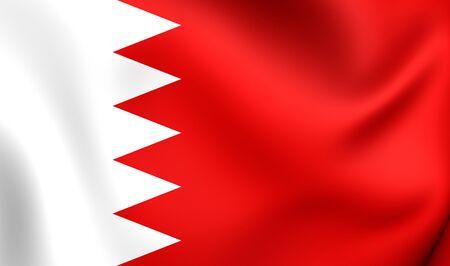 bahrain: 3D Flag of the Bahrain. Close Up.
