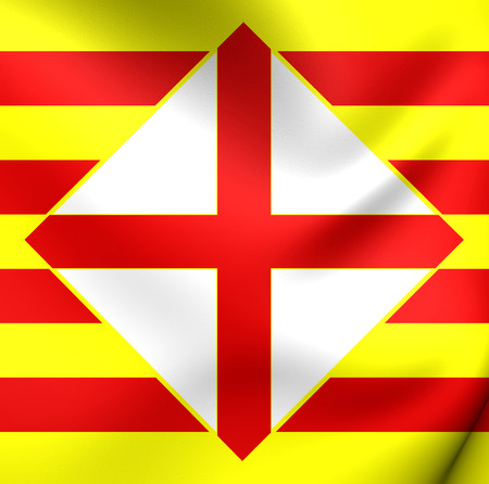 barcelona  spain: 3D Flag of Barcelona Province, Spain. Close Up. Stock Photo