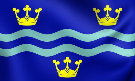 cambridgeshire: 3D Flag of Cambridgeshire County, England. Close Up. Stock Photo