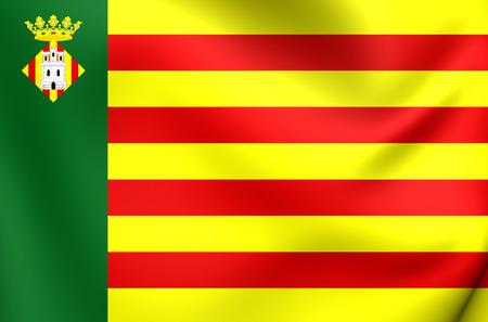 la: 3D Flag of Castellon de la Plana City, Spain. Close Up. Stock Photo