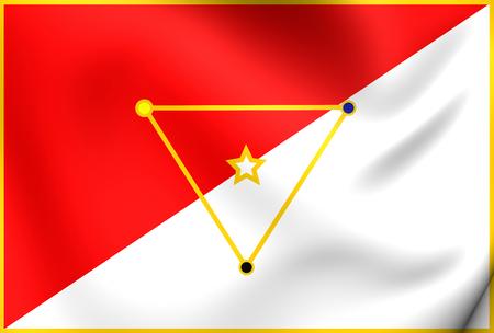 bandera de panama: Bandera 3D del distrito de San Miguelito. Acercamiento.