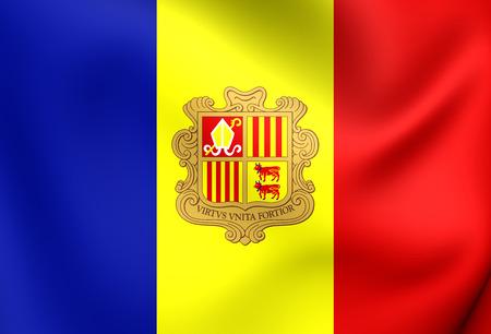 andorra: 3D Flag of the Andorra. Close Up. Stock Photo