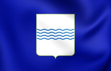 lucania: 3D Flag of Basilicata Region, Italy. Close Up. Stock Photo