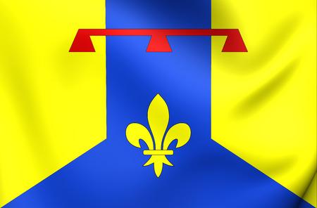blason: 3D Flag of Bouches-du-Rhone Department, France. Close Up.