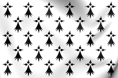 brittany: 3D Flag of Brittany, France. Close Up.