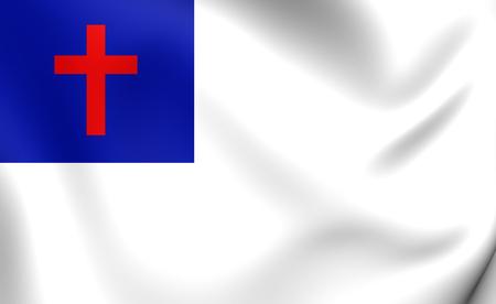 christendom: 3D Christian Flag. Close Up.