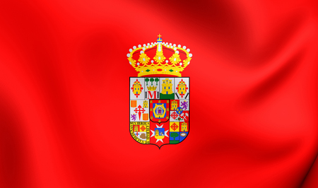province: 3D Flag of Ciudad Real Province, Spain. Close Up. Stock Photo