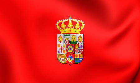 castilla: 3D Flag of Ciudad Real Province, Spain. Close Up. Stock Photo