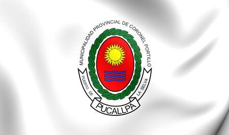 portillo: 3D Flag of Coronel Portillo Province, Peru. Close Up. Stock Photo