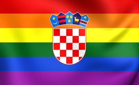 gay flag: Croatia Gay Flag. Close Up. Stock Photo