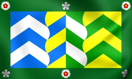 cumbria: 3D Flag of Cumbria County, England. Close Up.