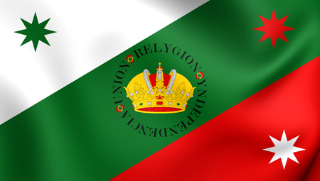 regency: 3D Flag of Mexican Regency (First Flag of the Mexican Empire). Close Up.
