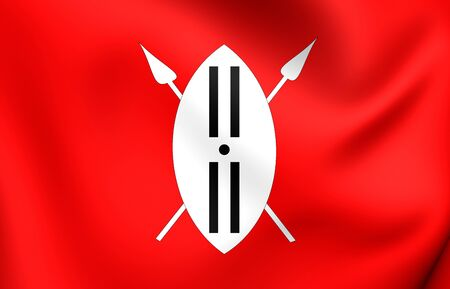 masai: 3D Maasai Ethnic Flag. Close Up. Stock Photo