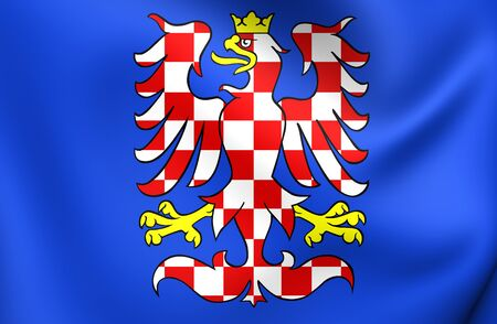 morava: 3D Flag of Moravia, Czech Republic. Close Up.