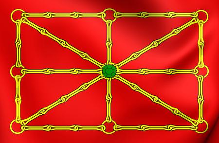 spainish: 3D Kingdom of Navarre Flag. Close Up.