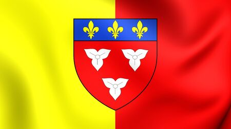 orleans: 3D Flag of Orleans City, France. Close Up.