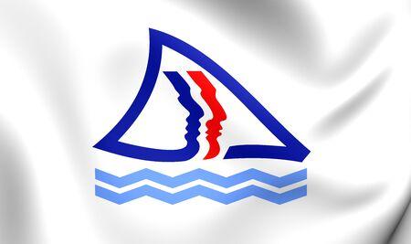 sud: 3D Flag of Province Sud, New Caledonia. Close Up.