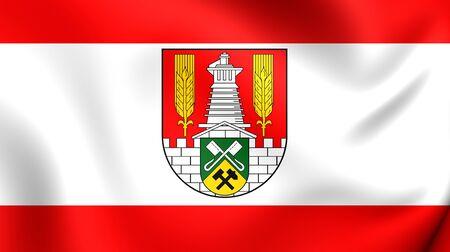 saxony: 3D Flag of Salzgitter City (Lower Saxony), Germany. Close Up. Stock Photo