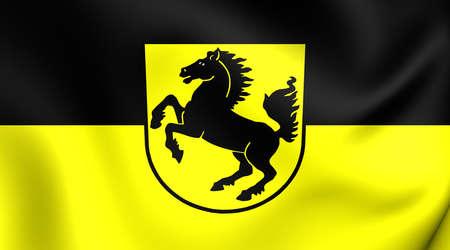 stuttgart: 3D Flag of Stuttgart City, Germany. Close Up.