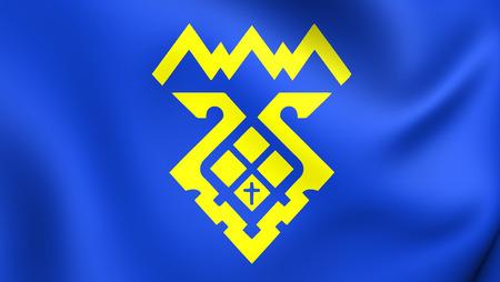3D Flag of Tolyatti City (Samara Oblast), Russia. Close Up. Stock Photo