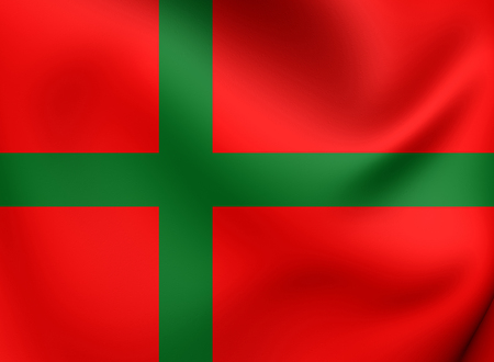 flutter: 3D Flag of Bornholm, Denmark. Close Up. Stock Photo