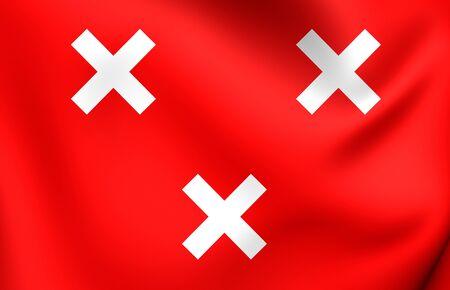 breda: 3D Flag of Breda City, Netherlands. Close Up.