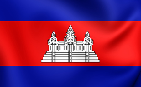 cambodian flag: 3D Flag of the Cambodia. Close Up. Stock Photo