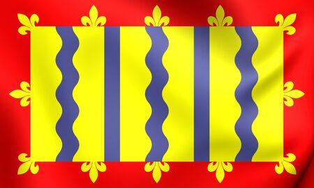 cambridgeshire: 3D Flag of Cambridgeshire County Council, England. Close Up.