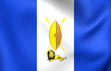 ensign: 3D Flag of Buganda Kingdom. Close Up.