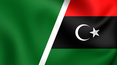 middle joint: 3D Bandiera combinata della Libia. Avvicinamento.