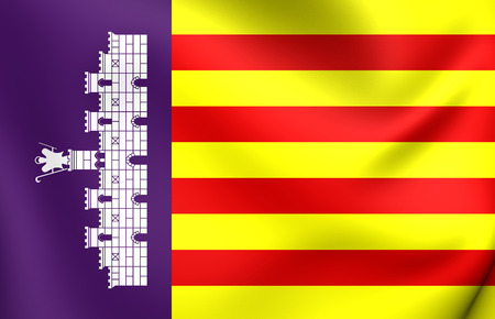 majorca: 3D Flag of Majorca, Spain. Close Up.
