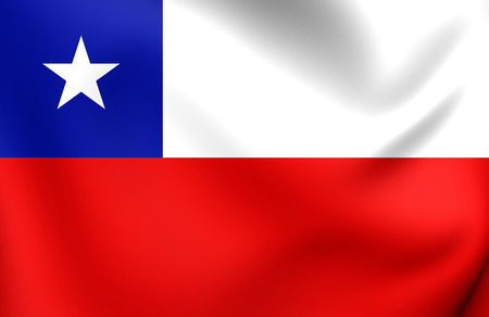 ensign: 3D Flag of the Chile. Close Up.