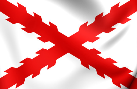 cross armed: Cross of Burgundy Flag. Close Up. Stock Photo