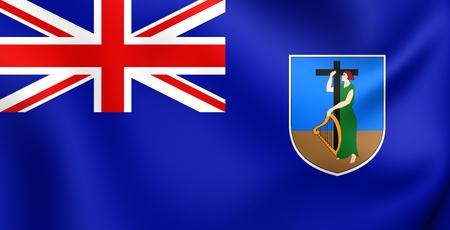 montserrat: 3D Flag of the Montserrat. Close Up.