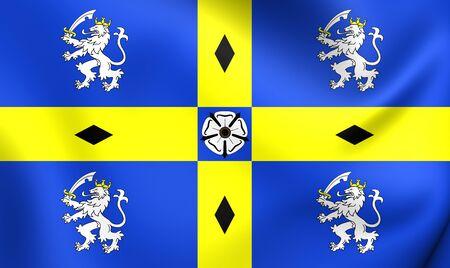 council: 3D Flag of Durham County Council, England. Close Up.