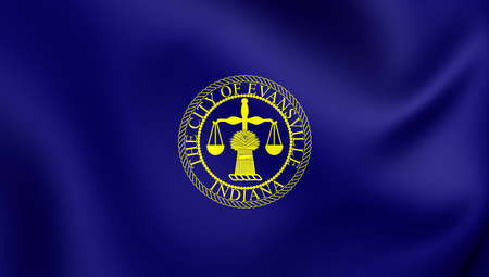 ensign: 3D Flag of Evansville City (Indiana), USA. Close Up.