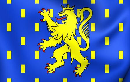 region: 3D Flag of Franche-Comte Region, France. Close Up. Stock Photo