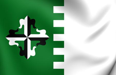 municipality: 3D Flag of Guaynabo Municipality, Puerto Rico. Close Up.