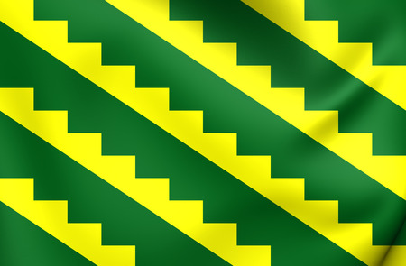 municipality: 3D Flag of Gurabo Municipality, Puerto Rico. Close Up.
