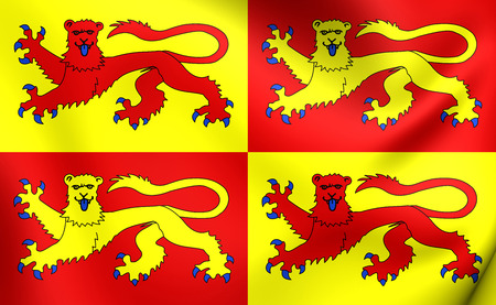 cymru: 3D Flag of Gwynedd, Wales. Close Up.