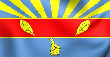 zimbabwe: 3D Flag of Harare, Zimbabwe. Close Up.