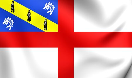bailiwick: 3D Flag of Herm. Close Up.