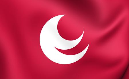 hiroshima: 3D Flag of Hiroshima Prefecture, Japan. Close Up.