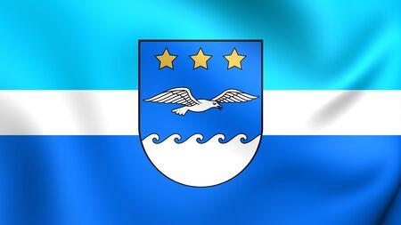 jurmala: 3D Flag of Jurmala, Latvia. Close Up. Stock Photo