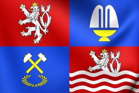karlovy: 3D Flag of Karlovy Vary Region, Czech Republic. Close Up.